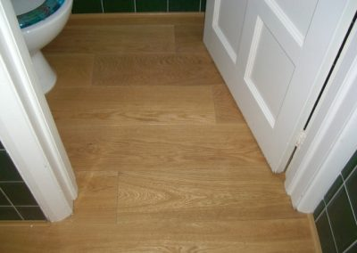 Oak flooring in bathroom